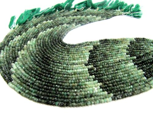 Natural Emerald Beads 5mm Rondelle Faceted 13 inch strand Precious Gemstones