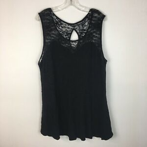 Torrid-Women-039-s-Black-Lace-Accent-Sleeveless-Peplum-Blouse-Top-Shirt-Size-4X