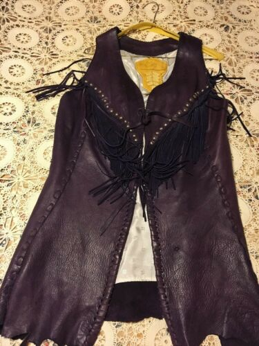 Genuine Grizzly Leather Xl Western Motorcycle Fort Vest Purple Womens fHnWCqZ