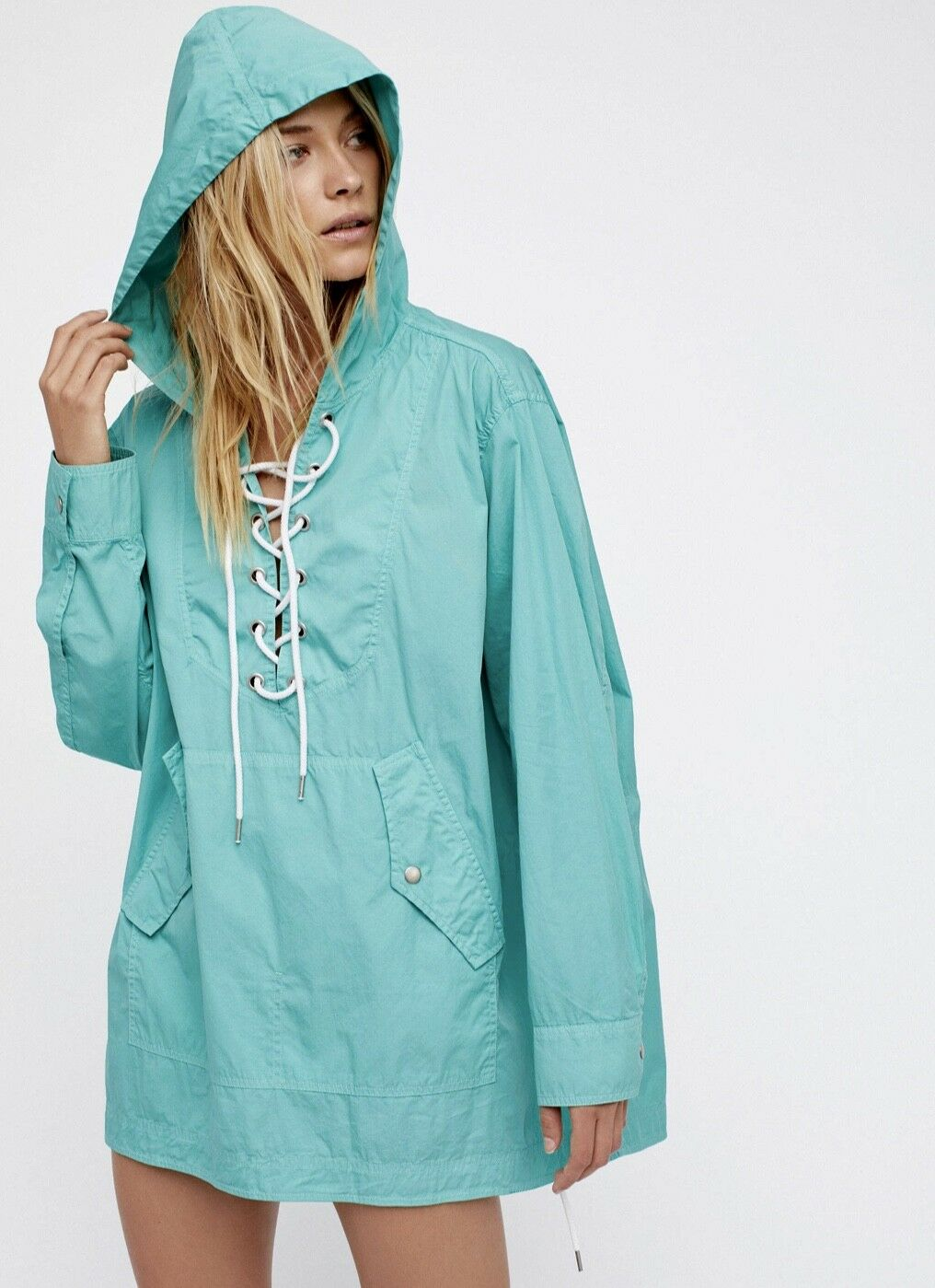 NEW Free People turquoise Hooded Lace Up Poplin Tunic Top Jacket Dress XS   S