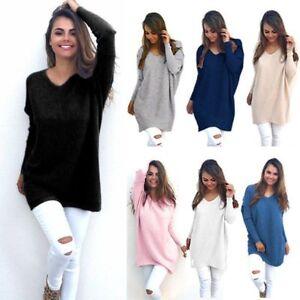 Damen-Pullover-Pulli-Strickjacke-Sweater-Longshirt-Mini-Kleid-Oversize-Langarm