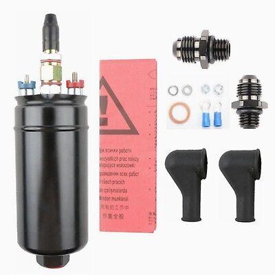 300LPH Universal External Inline Fuel Pump Replaces 0580 254044 6AN 10AN adapter