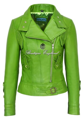 Jacket Style Green Ladies Napa Biker Lime Italian Leather Real Supermodel 4110 wqOzPIP