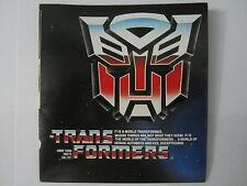 Checklist TriFold Catalog Optimus Megatron Vintage 1985 Hasbro Transformers G1
