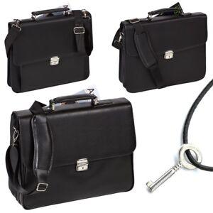 Laptoptasche DERMATA Laptopfach Leder Optik Business Tasche Laptopcase Schwarz