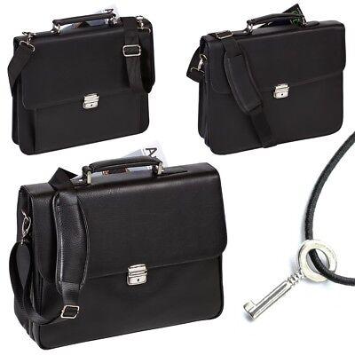Clever Laptoptasche Dermata Laptopfach Leder Optik Business Tasche Laptopcase Schwarz