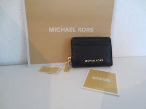 Details zu Michael Kors TRAVEL Geldbörse NAVY ZIP COIN CARD CASE Schwarz Gold Geldbeutel