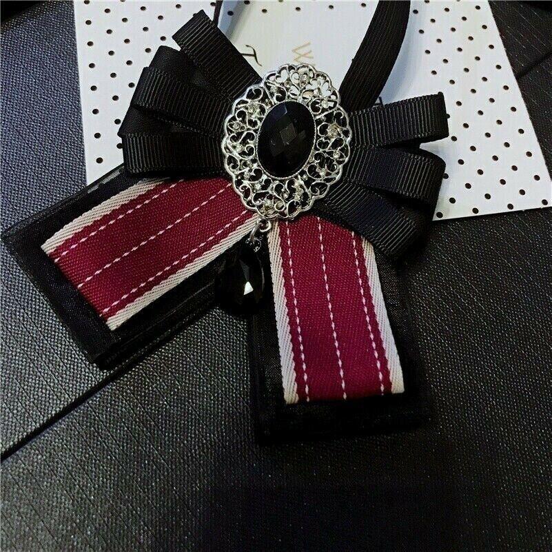Women Crystal Bow Tie Bowknot Uniform Ribbon Stripe Check Necktie Rhinestone