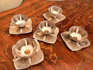 Vintage-5-cups-5-Saucer-Alka-Bavaria-Germany-Porcelain-Coffee-Set