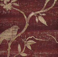 Beige Asian Branches with Birds on Textured Reddish Burgundy Wallpaper FD54220