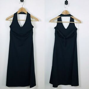 Patagonia-Small-Morning-Glory-Black-Stretch-Back-Tie-Outdoor-Halter-Dress-Active