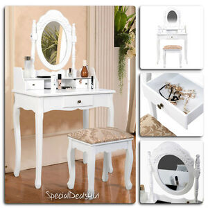 Miraculous Details About Vanity Table Set Mirror Stool Dressing Drawer Jewelry Wood Vintage Makeup Desk Ibusinesslaw Wood Chair Design Ideas Ibusinesslaworg