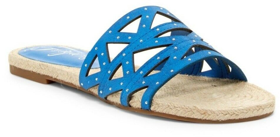 NIB Sandal Fergie Minx Women's Slip-On Leather Sandal NIB Sky Blue Sz 6.5 d1ec1f