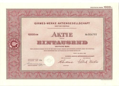 Girmes - Werke AG Oedt bei Krefeld hist. Aktie 1960 mit Kupons Samt und Seide