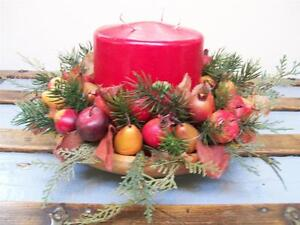 Vintage-Wood-Bowl-Candle-Apple-Pomegranate-Pear-Cedar-CHRISTMAS-Fall-CENTERPIECE