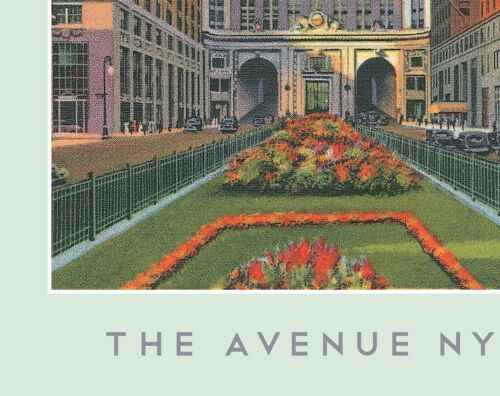 "New York PARK AVENUE Skyline /""The Avenue NYC/"" Framed Poster 13.5x19.5/"""
