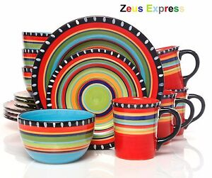 Image is loading 32-Piece-Dinnerware-Set-Mexican-Style-Handpainted-Serves-  sc 1 st  eBay & 32 Piece Dinnerware Set Mexican Style Handpainted Serves 8 Plates ...