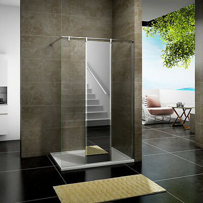 Walk In Wet Room Shower Enclosure Glass Screen Cubicle Stone Tray Mirror Glass