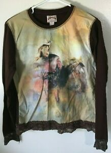 Women-039-s-Top-Size-M-Blouse-Cowgirl-Shirt-Brown-Multi-Color-Bit-amp-Bridle-Cotton
