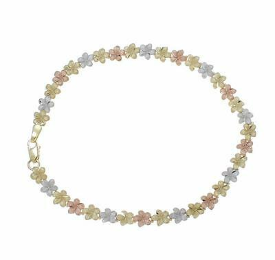 Jewelry & Watches Objective 14k Amarillo Rosa Blanca Tricolor Oro Hawái Plumeria Flor Tobillera 5.5mm 22.9cm Cheap Sales 50%