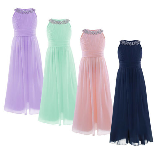 New Ball Gown Tulle Bridesmaid Princess Wedding Girls Dress Party Kids Clothes