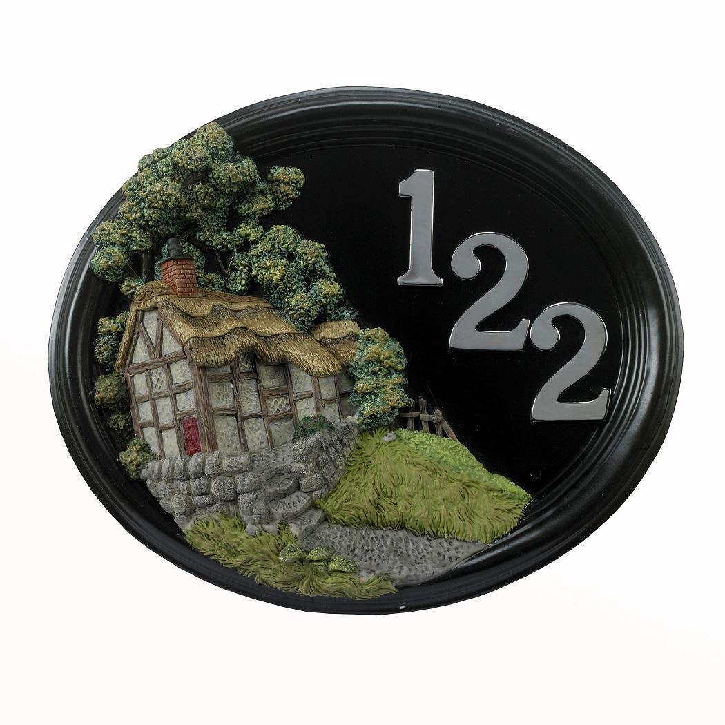 Hillside Thatched Cottage - Hand Painted House Sign   Plaque with Number