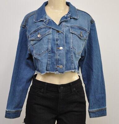 Women/'s Oversized Cropped Denim Jacket Wild Fable Medium Wash