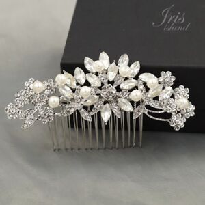 610025d2e Image is loading Bridal-Hair-Comb-Pearl-Crystal-Headpiece-Hair-Clip-