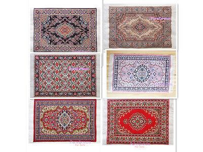 "Dollhouse Miniature Embroidered Carpet Rug Footcloth  6/"" x 10/""  6PCS"