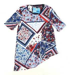 Marks-amp-Spencer-Womens-Size-12-Floral-Blue-Top-Regular