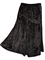 Roman Orginals Black Velvet Embroidered Beaded Boho Long Skirt Uk 16 Rrp £44