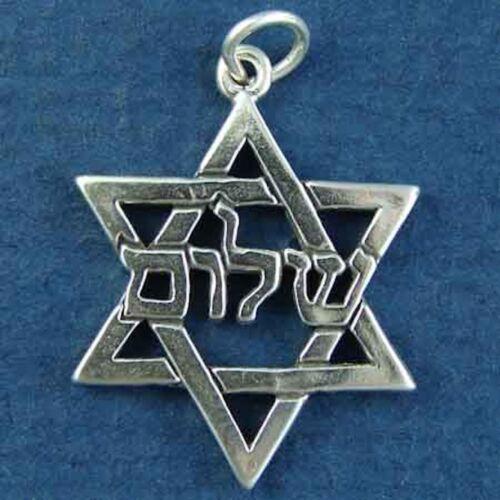 STAR OF DAVID SHALOM PENDANT CHARM sterling silver