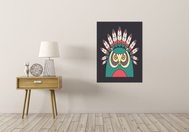 ART PRINT POSTER PAINTING DRAWING NATIVE AMERICAN STYLE OWL FEATHERS LFMP1075