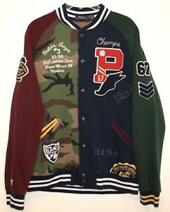 Polo-Ralph-Lauren-Mens-Multi-Color-Varsity-Letterman-Jacket-NWT-299-Size-M