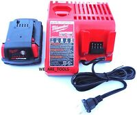 (1) Genuine M18 Milwaukee 48-11-1815 Compact Battery, (1) Charger 18 Volt