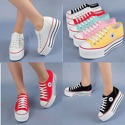 Wedges Trainers Heels Sneakers Platform Low Top Ankles Boots Shoes C50 6Mok