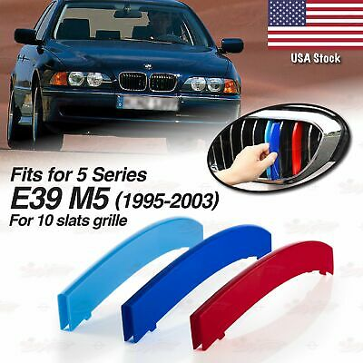 Fit for BMW 5 Series 1995-2003 E39 M5 Clip in Bonnet Hood Kidney Clip in Inserts Grille Stripes Cover Decor M Sport Tech Power Performance 3 Color