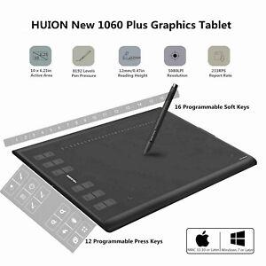 Huion New 1060 Plus Graphics Tablet 8192 Sensitivity 12 16 Keys 8gb Drawing Pad Ebay