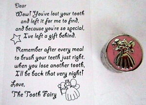 BABY-KEEPSAKE-034-MY-FIRST-TOOTH-034-SILVER-amp-PINK-BOX-WITH-TOOTH-FAIRY-CALLING-CARD