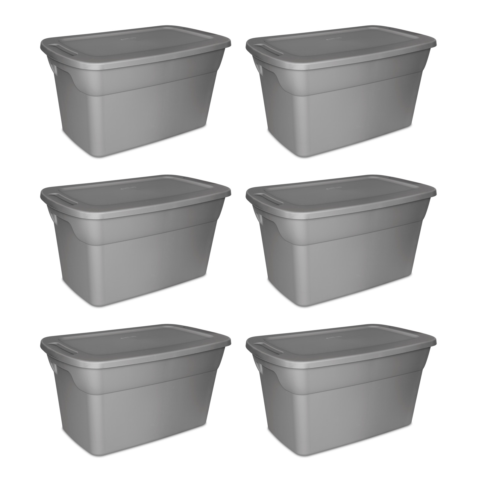 Storage Containers 30 Gallon Set Of 6 Bin Lids Garage Home Organizer Tote Box