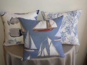 Beach-Sea-Sail-Boat-Old-Yachts-Coastal-Theme-Cushion-Covers-30x50-45cm-Au-Made