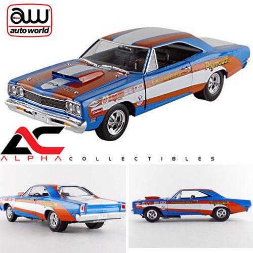 Autoworld aw220 1 18 1969 1969 1969 Plymouth Roadrunner Hardtop  Don grojoheer  21dc71