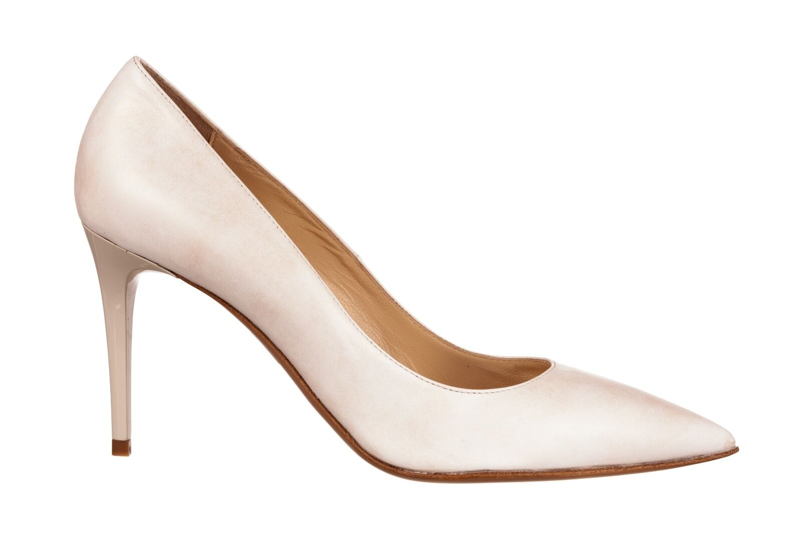 Mori Made in  Pointy High Heels Pumps Decolte Schuhe Leather Beige Nude 44