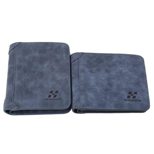 Men PU Leather ID credit Card Holder Clutch Bifold Coin Purse Wallet Pockets S