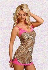 Ladies Lingerie plus size leopard print lacy pink lace chemise/dress 16-18 2XL