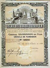 ART DECO 1926 SEVILLE SPAIN COTTON BOND w ALL COUPONS! A GEM 2 FRAME! $75 RETAIL