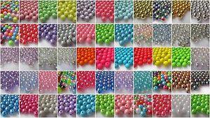 50-10mm-Round-Acrylic-Beads-Choice-Colours-amp-Finishes