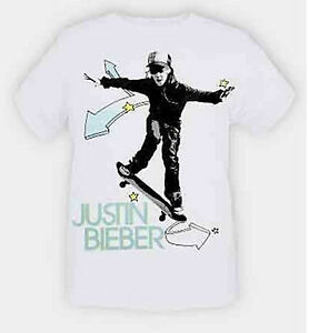 Justin-Bieber-Skateboard-Skater-White-Slim-Fit-T-Shirt-M-Hot-Topic-Rock-X