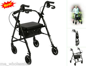 chair wheel trolley elderly cart seat walker basket folding adjustable
