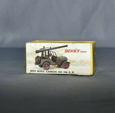 ref 829 dinky toys militaire Jeep willys canon 106 SR compléte pilote +crochet